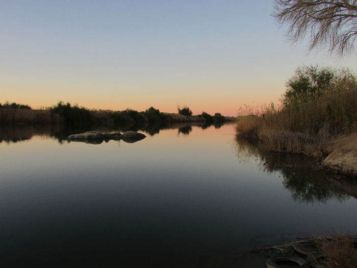 Water Sunset Reflection Tranquil Scene Tranquility Scenics Tree Lake Copy Space Beauty In Nature Clear Sky Waterfront Standing Water Nature Calm Non-urban Scene Outdoors Growth Orange Color Water Surface Orange River Oranje River South Africa Afternoon Sky Afternòon Shoot Afternoonsun