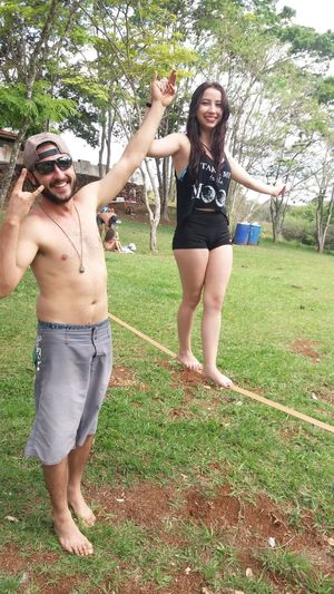 Hello World Long Hair That's Me Outdoors Hi! Tourism Tranquility Green Color Friendship Slackline