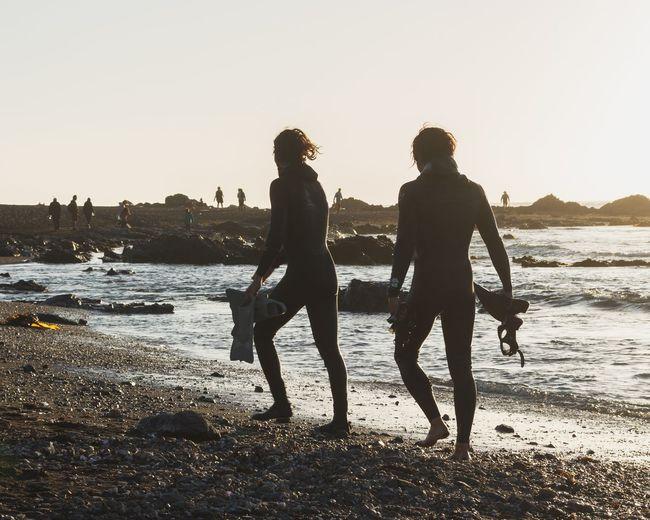 Playa Hermosa lll. Pichilemu Chile Playahermosa Sunset Goldenhour Danicoph Skindiving Two People Beach Silhouette Sea