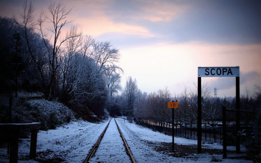 Train tracks Train Tracks Winter Light Snow Gloomy