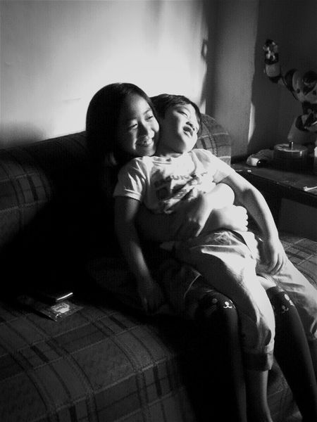 SiblingsLove Kids Kidsphotography SiblingsLove❤ Child EyeEmNewHere EyeEm Blessed & Thankful :) Young Adult Bedroom Happy Time Beautiful ♥ EyeEm Selects EyeEm Best Shots Eyeemphoto Mobilephotography The Week On EyeEm Black And White Friday Single Parent Embracing Hugging Arm Around