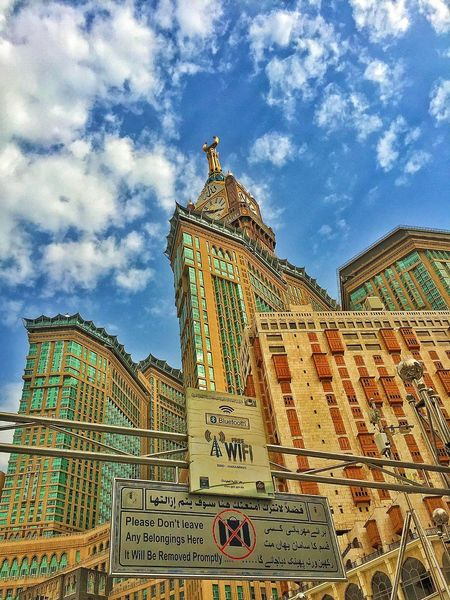 Building Pilgrimage Hajj Tower Clock Masjid Al-Haram المسجد الحرام Sky And Clouds The Architect - 2016 EyeEm Awards WIFI Zone The Essence Of Summer Buildings Mecca Saudi Arabia