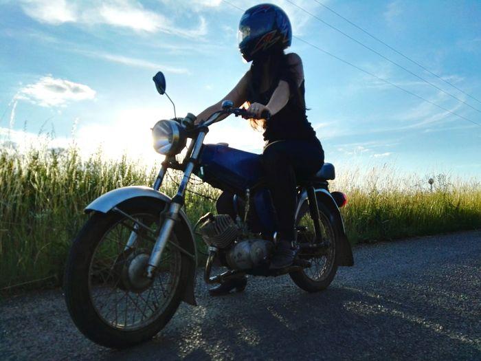 Motocycling Taking Photos Sister Simson Enjoying Life Summer Sunset