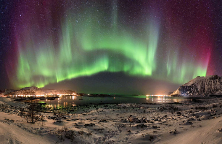 Mega aurora over Fredvang Aurora Aurora Borealis Burning Sky Northern Lights Northern Norway Norway Winter Beauty In Nature Fredvang Green Color Idyllic Illuminated Land Lofoten Mountain Nature Night No People Outdoors Power In Nature Scenics - Nature Sea Tranquil Scene Water