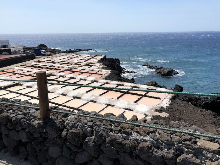 Sea Water Horizon Horizon Over Water Sky Nature Scenics - Nature High Angle View Day No People Architecture Clear Sky Tranquil Scene Built Structure Tranquility Roof Beauty In Nature Land Beach Outdoors Roof Tile Groyne Salzgewinnungsanlage Trockenbecken La Palma, Canarias