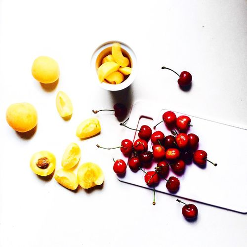 Healthy Food Apricot Cherries🍒 Fruits Vegan Food Healthy Eating Healthy Lifestyle Onmytable White Decoration