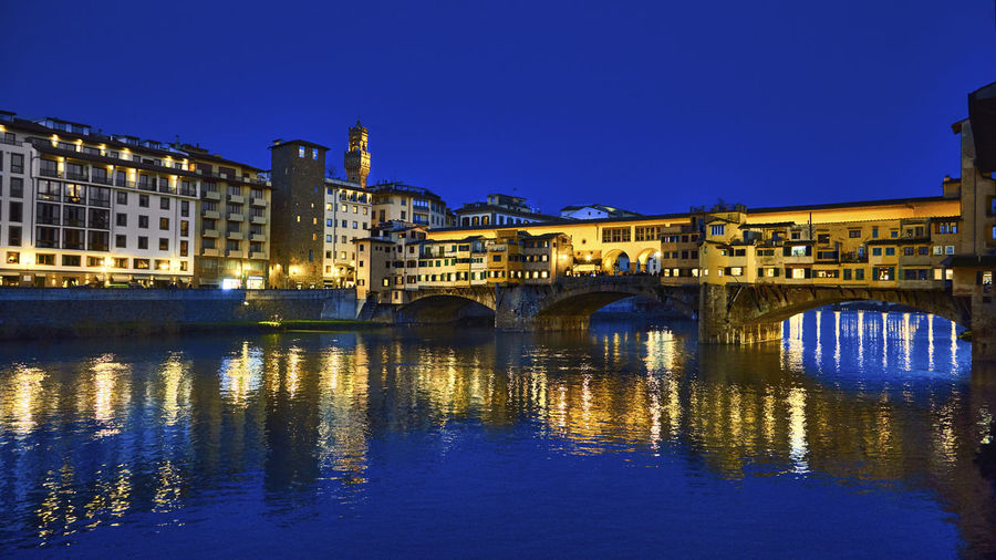 Blue Vecchio Colour Your Horizn Firenze Arch Architecture Blue Bridge - Man Made Structure Building Exterior Built Structure City Clear Sky Connection Dusk Florence Illuminated Italy Night No People Outdoors Ponte Vecchio Reflection River Sky Travel Destinations Water