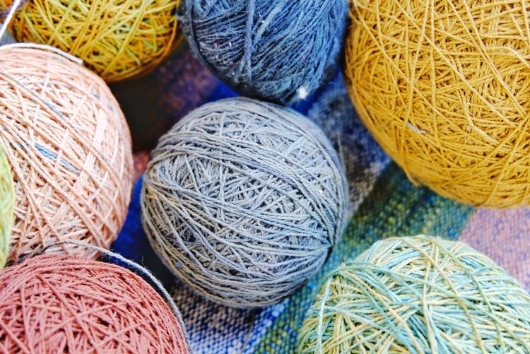 Cotton thread Cotton Threads Cotton Close-up Colorful Colors Photo Image New Ball Round Material Object Blue Ball Of Wool Close-up Fiber Thread Linen
