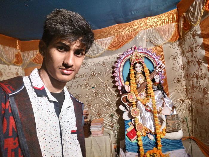 Saraswati puja... Puja Saraswati Puja Selfie ✌ Murti Fun Enjoy Remembering Education EyeEm Selects Portrait Looking At Camera Arts Culture And Entertainment One Person Day