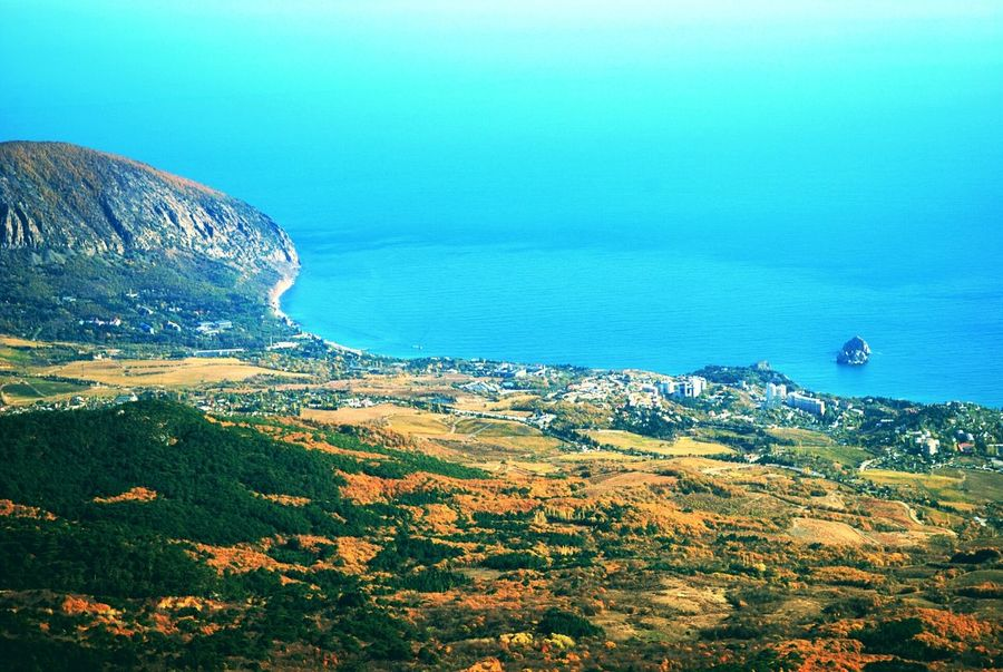 Crimea, Ukraine Sea Nature Scenics Sky Water Beauty In Nature No People Day Close-up Outdoors Blue Sky Autumn Colors Mountains And Sky Coastline Top View Top Perspective Tranquility Clear Sky Landscape_Collection Mountain Range Mountain View Autumn Calmness Sea And Sky