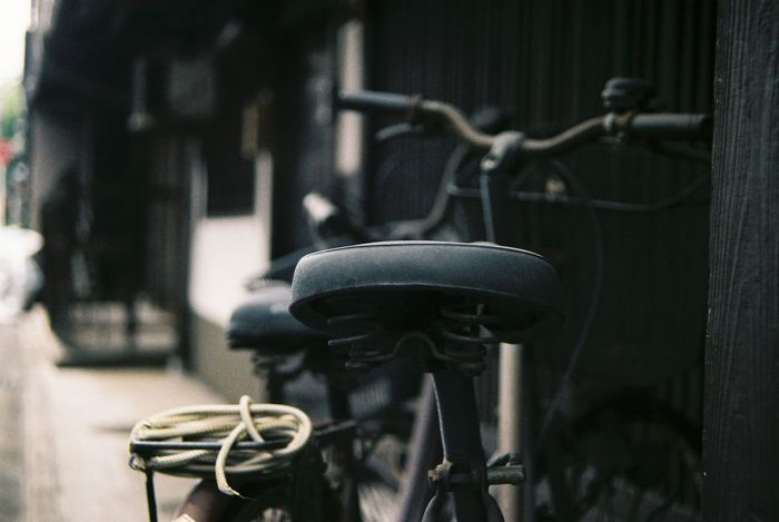 Bikes Old House Building Exterior Close-up Cityscape Oshikoji Kyoto Japan Film Photography Pentax KM Tefnon 35-70 Fuji C200 3XSPUnity