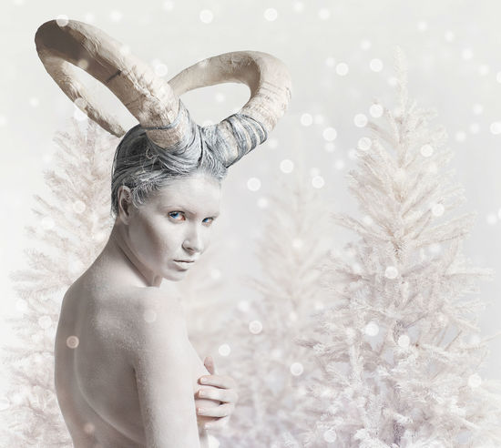 Portrait of female with goat body-art. Dedicated to Chinese Horoscope 2015 - Year of the Goat (Sheep) Model Aries Goat Horns Horoscope  Looking At Camera Makeup New Year RAM Winter Woman Zodiac Sign Astrological Signs Attractive Body Paint Bodyart Calendar Character Christmas Conceptual Female Horned Sheep Snowflakes Symbol