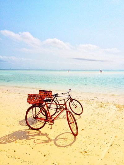 Sea Sky Water Beach Land Horizon Over Water Transportation Sand Bicycle Horizon Beauty In Nature Scenics - Nature Mode Of Transportation Outdoors Cloud - Sky Tranquil Scene Nature Idyllic Tranquility Land Vehicle