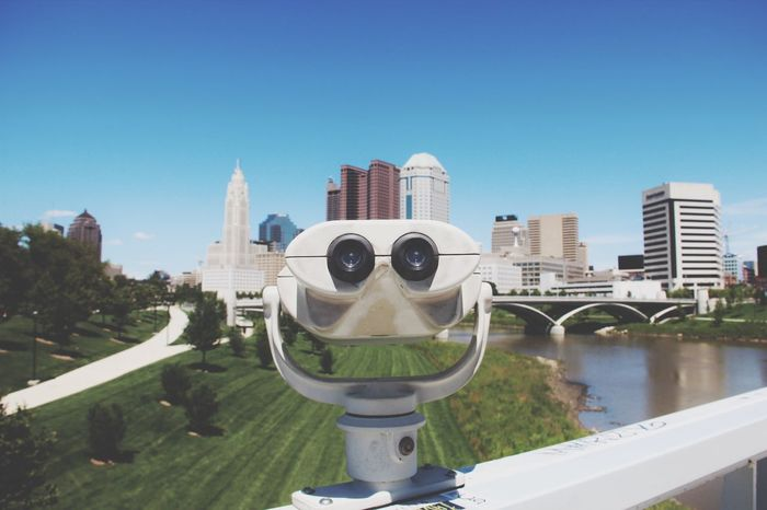City Architecture Cityscape Skyscraper Clear Sky Coin-operated Binoculars Building Exterior Built Structure Tower Water Modern Day Outdoors No People Sky Urban Skyline