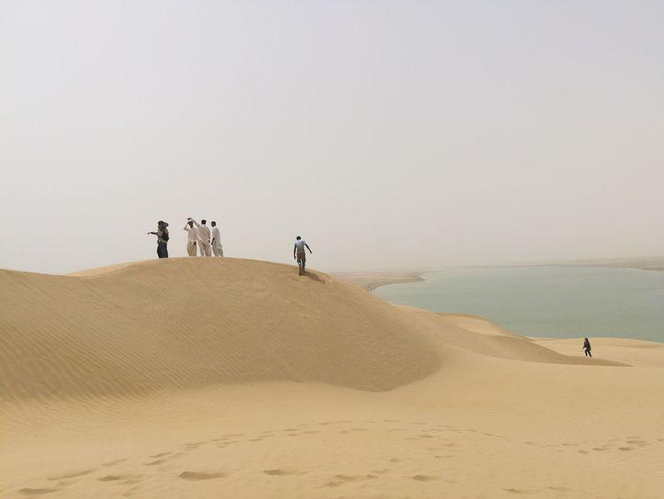 Sand Dune Clear Sky Desert Full Length Men Sand Adventure Beach Sky Landscape