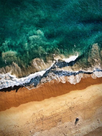 Land Beach Water Sea Sand Nature Wave Beauty In Nature High Angle View Tranquil Scene Day