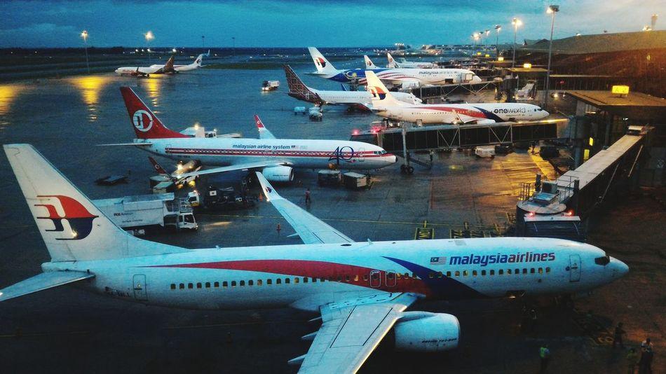 Jet planes parked at KLIA International Airport. Jet Planes KLIA International Airport Malaysia Airlines Transportation Nautical Vessel Mode Of Transport Airplane Harbor Outdoors Water