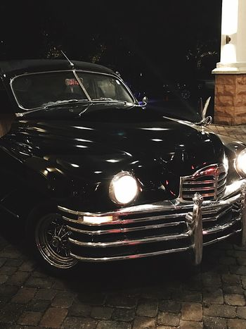 Cool Car Night Illuminated Car Close-up Old Fashioned No People Transportation Prom Black Car Mobility In Mega Cities