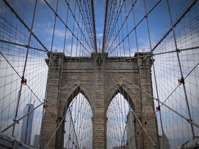 Blue Sky With Clouds Blue Sky New York New York City Brooklyn Bridge  Brooklyn Bridge / New York EyeEm Best Shots EyeEmNewHere Bridge - Man Made Structure Connection Architecture Built Structure Engineering Suspension Bridge Low Angle View Sky Transportation Cable Travel Destinations No People Outdoors City Day