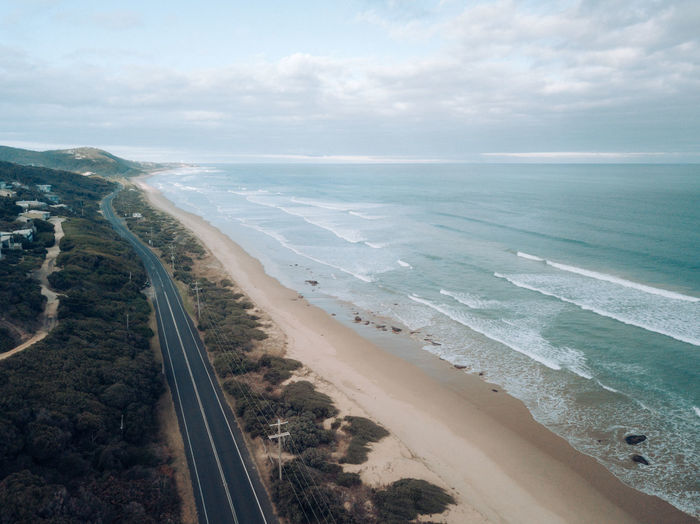 Aerial view of great ocean road in autumn