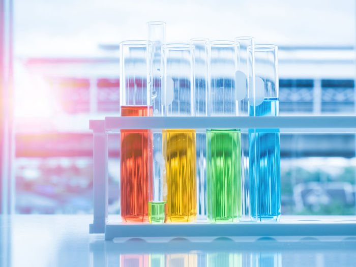 Close-up of test tube rack