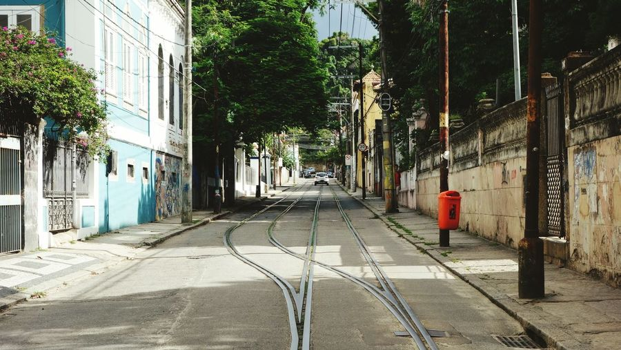 View Of Railroad Track On Street