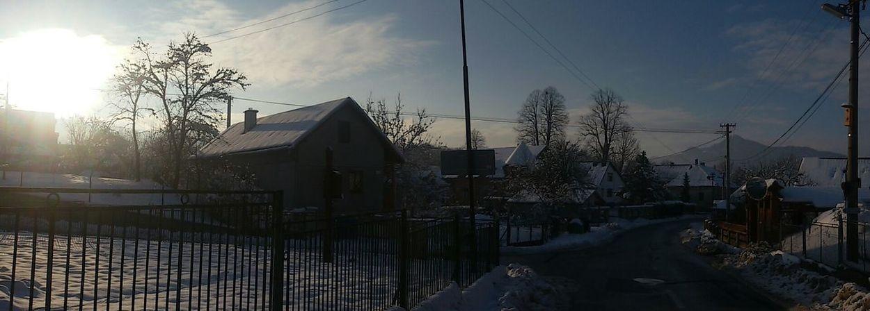 Village Sun Winter Enjoying Life With Friends