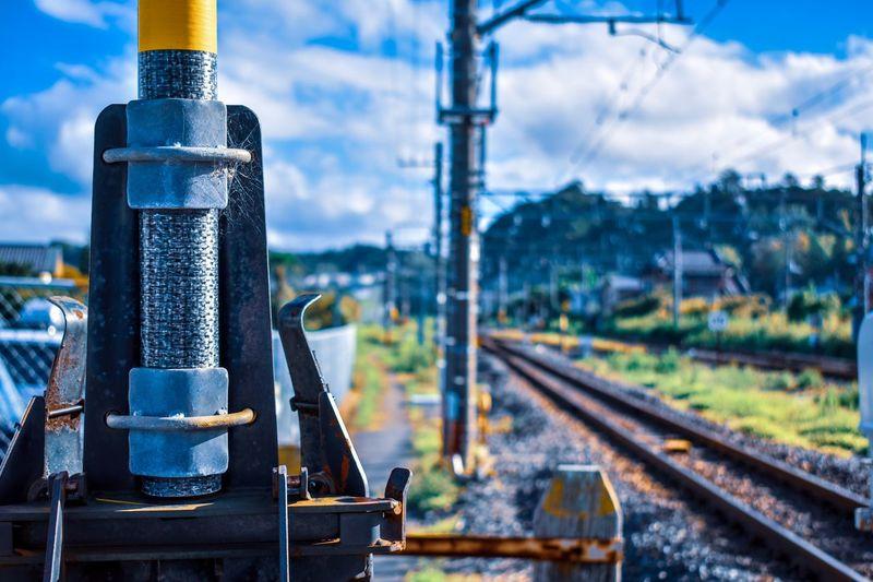 Rail Transportation Track Transportation Railroad Track Focus On Foreground Mode Of Transportation Metal Day Sky Train