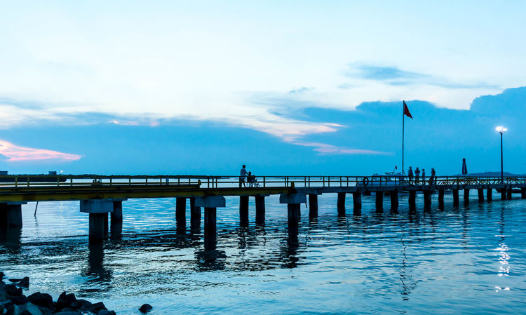 Sunset ! Architecture Beauty In Nature Blue Bridge - Man Made Structure Built Structure Cloud - Sky Connection Day Horizon Over Water Nature No People Outdoors Pier Scenics Sea Sky Tranquil Scene Tranquility Water Waterfront Wooden Post