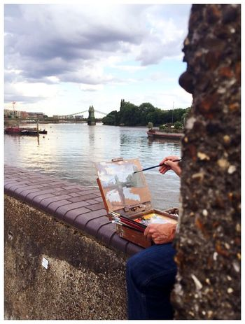 Riverside Artist Painting Light Brush Bridge Clouds And Sky River Thames Wall