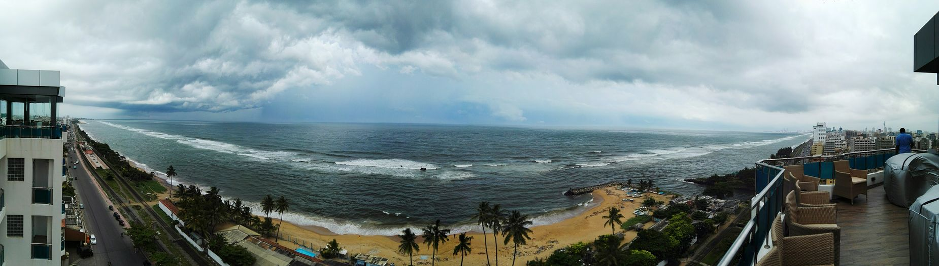 Colombo Beach Sea And Sky Topfloorview Mount Lavinia Sri Lanka Panorama