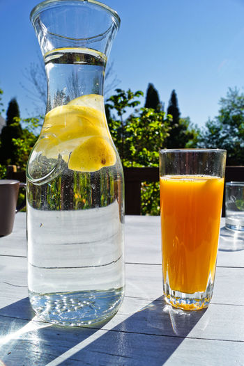 Drink and juice on table