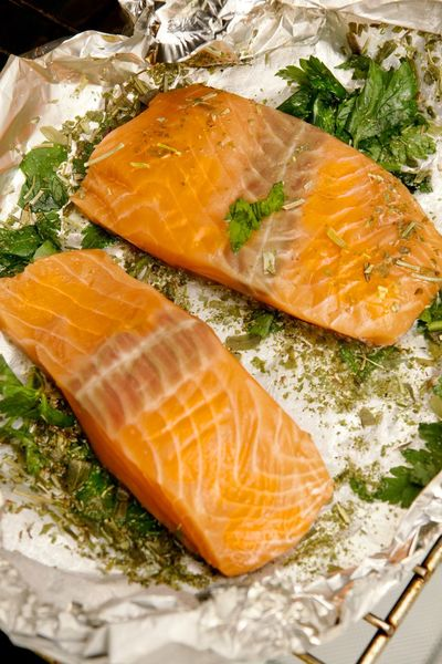 Salmon with herbs in the oven Nobody Baking Oven Seafood Baking Cooking Food And Drink Food Freshness Healthy Eating Seafood Fish Wellbeing No People Salmon - Seafood High Angle View Raw Food Close-up