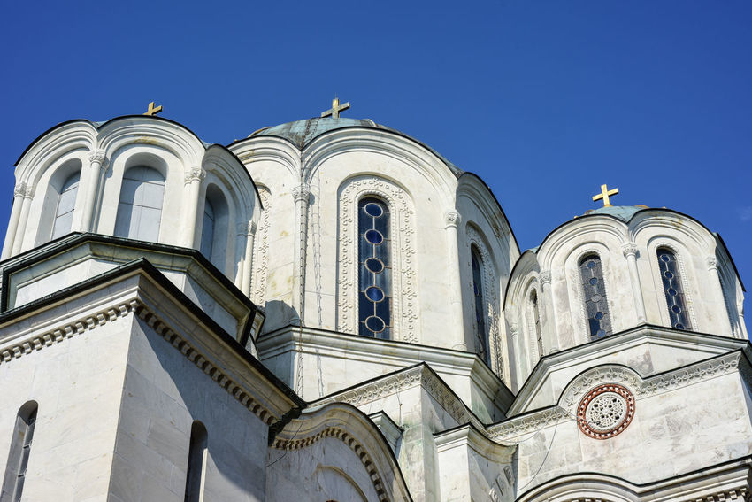 St George church on Oplenac, Topola, Serbia St George Topola, Serbia Arch Architecture Belief Blue Building Building Exterior Built Structure Clear Sky Day Low Angle View Nature No People Oplenac Outdoors Place Of Worship Religion Sky Spirituality