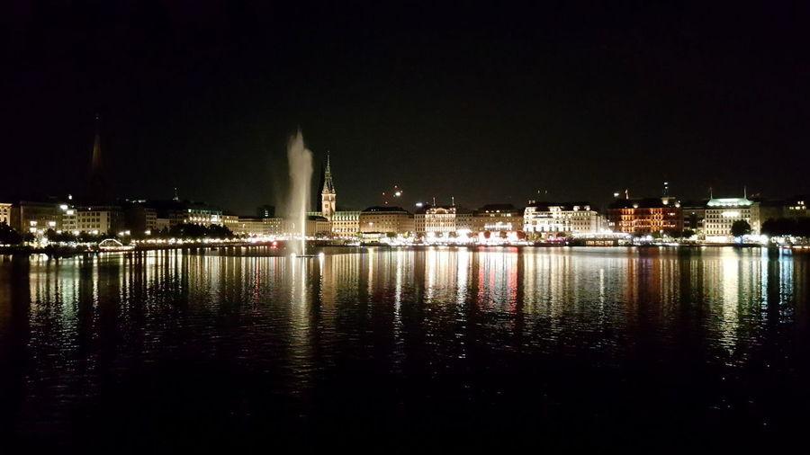 Hamburg 040 Innenalster Night Illuminated Reflection Architecture Water Built Structure No People City first eyeem photo