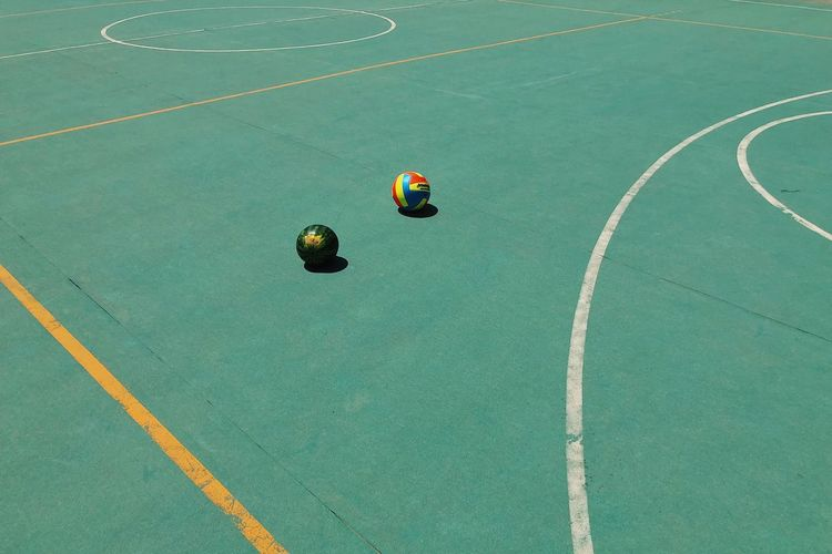 High Angle View Of Balls At Basketball Court