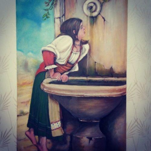 Papá Painting Baba Tuval yağlıboya çesme su içen kız