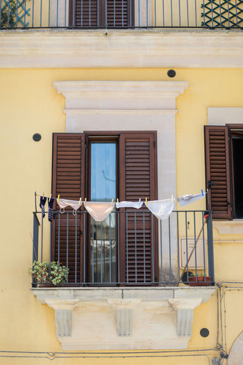 Architecture Façade In A Row Italien Italy Laundry Sicilia Sicily Sizilien Window Yellow Yellow Color