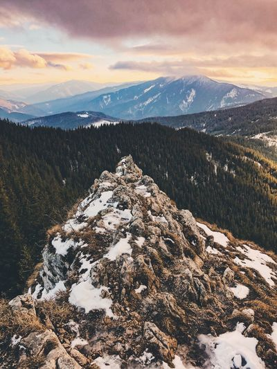 Romania Mountain Snow Cold Temperature Beauty In Nature Winter Nature Scenics Mountain Range Cloud - Sky Landscape Snowcapped Mountain Outdoors Sunset No People Travel Destinations Tranquil Scene Tranquility Sky Forest Day