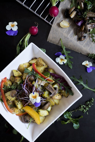 Potatoe salad Black Background Close-up Cooking Grate Day Flower Flower Head Food Food And Drink Food Photography Freshness Healthy Eating High Angle View Indoors  No People Parika Plate Potato Salad Potatoes Radish Ready-to-eat Rocketsalad Salad Table Vegan Vegetable