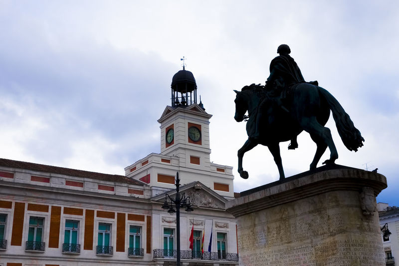 Low angle view of statue of building