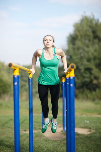 Athletic Attractive Caucasian Energetic Exercises  Fit Fitness Garden Girl Health Sport Summer Trainer Training Women Workout