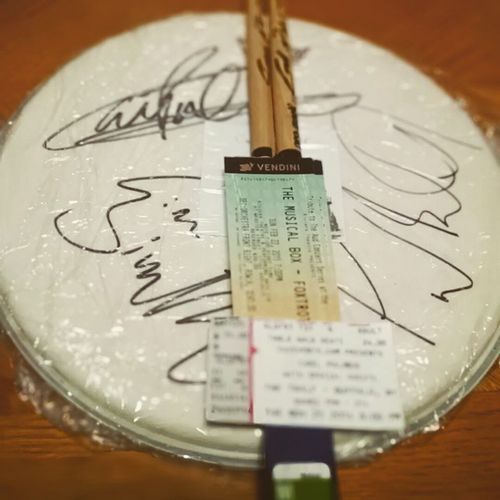 My dad got me tickets to both Musical Box (Genesis Tribute band) concerts in February. He also got a snare head and drum sticks signed by the legendary Carl Palmer, drummer of the Progrock trio Emerson, Lake & Palmer, For my birthday. Elp EmersonLakePalmer Progressiverock GenesisTribute