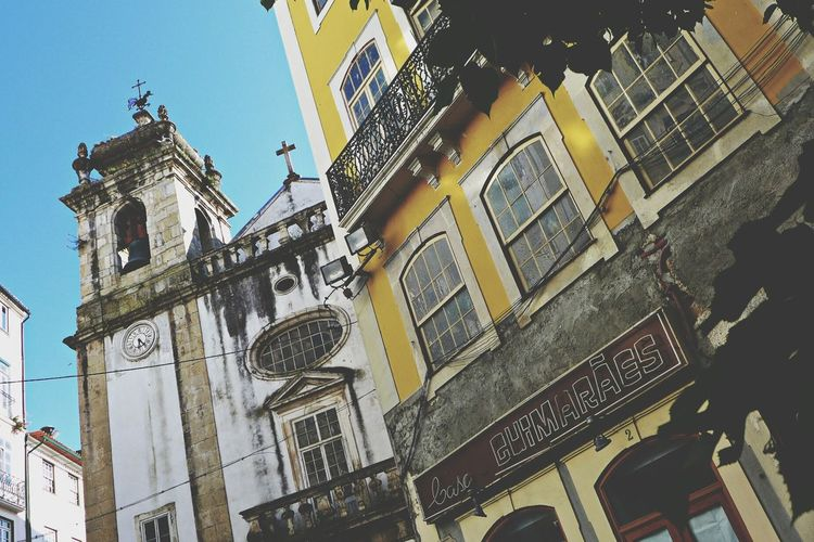 Portugal Coimbra City Churchtower Yellow House  Sun Summer Old Town
