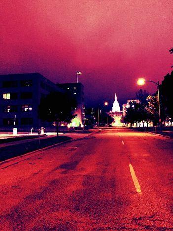 cApItAL $p@+ Illuminated Architecture Night City Red
