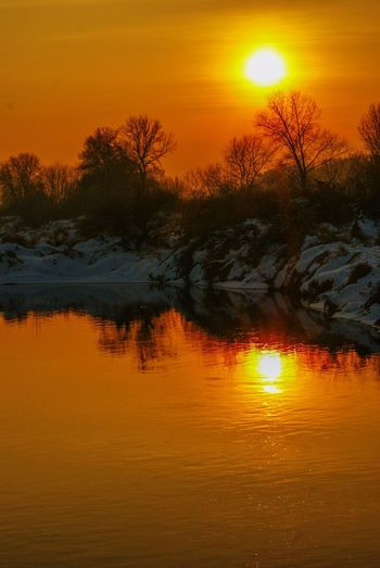 Sunset Orange Color Beauty In Nature Scenics Tranquil Scene Tranquility Sun Nature Reflection Majestic Tree Idyllic Sky Outdoors Lake Silhouette No People Water Landscape Poland Go Higher