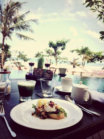 The EyeEm Breakfast Club Breakfast Food Porn Food breakfast by the beach.. couldnt ask for anything more ☺️