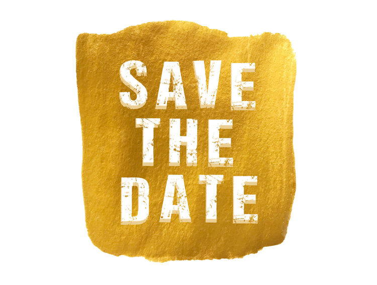 save the date Acylic Gold Paint Save The Date Cut Out Text White Background