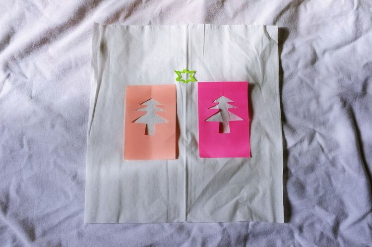 Close-up Day Directly Above Greeting Card  High Angle View Indoors  No People Paper Greeting Card  Red Communication Christmas Symbol Metaphor Christmas Tree Note Papers Decoration Pink Color Illuminated Tree Ideas White Background Snow Star