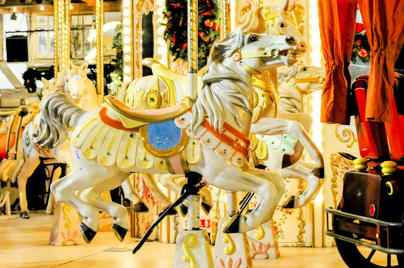 A galloper on a carousel during the Christmas market in Frankfurt am Main Germany. Bright Christmas Fun Fun Fair Lights Relaxing Animal Carousel Christmastime Empty Fun Fair Ride Galloper Horse Merry Go Round Merry Go Round Horse